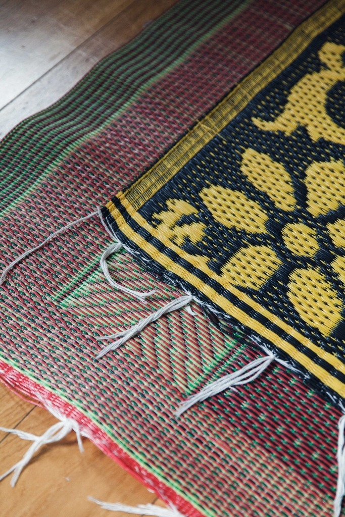 Colourful plastic woven rugs