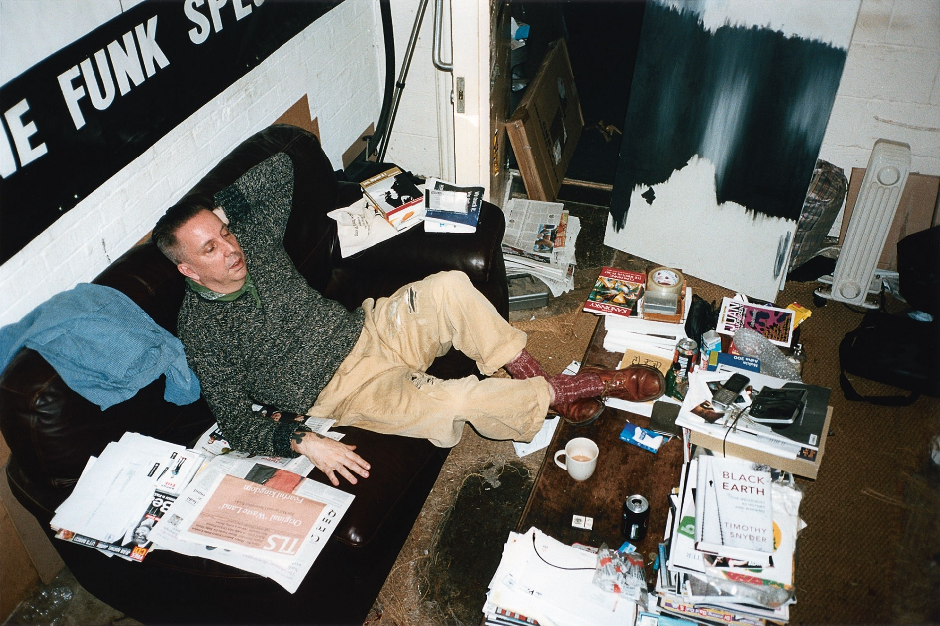 Portrait of Andrew Weatherall in his Shoreditch studio
