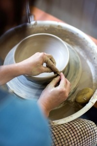 Rebecca Proctor working on her potters wheel