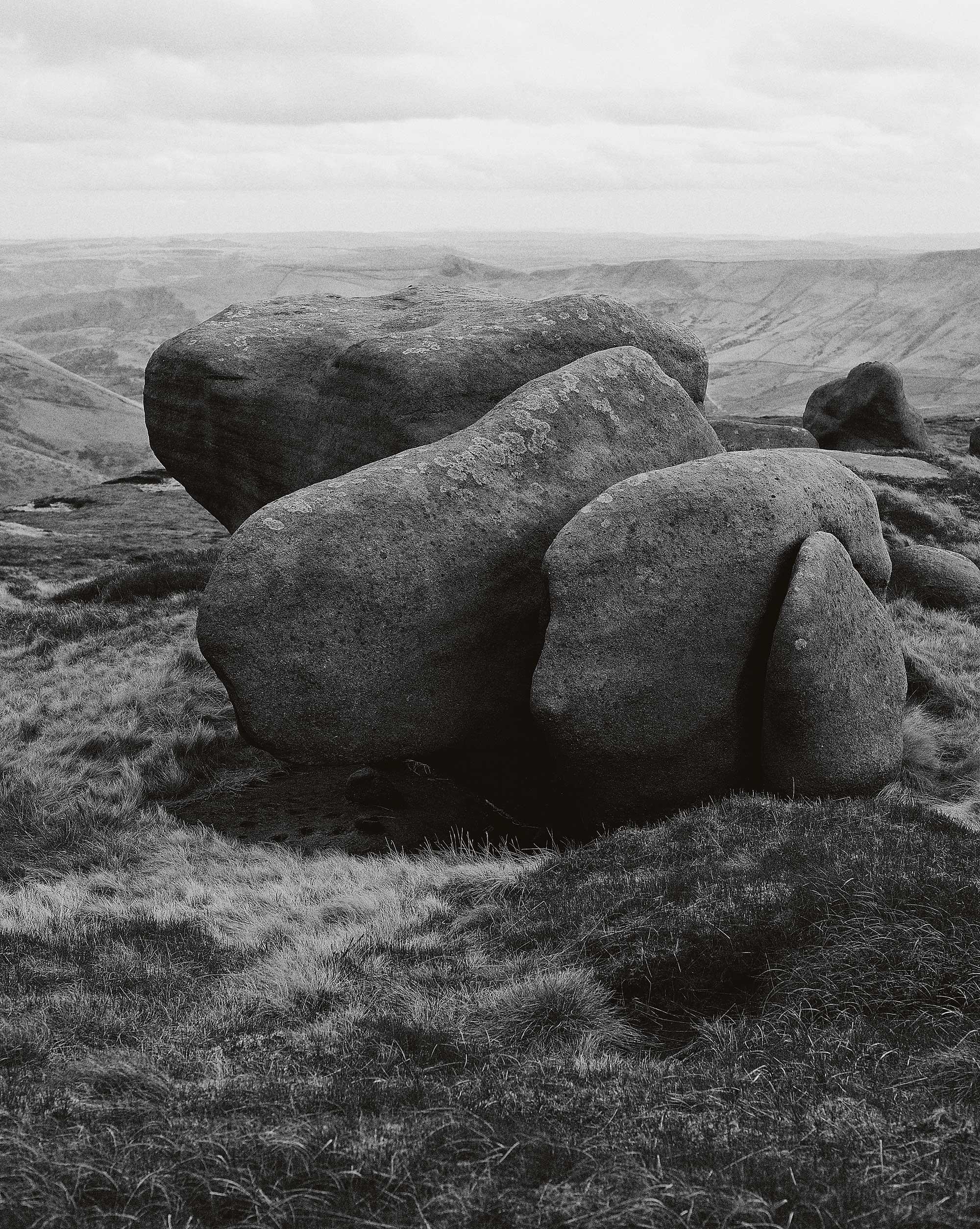Peak District landscape with large rocks