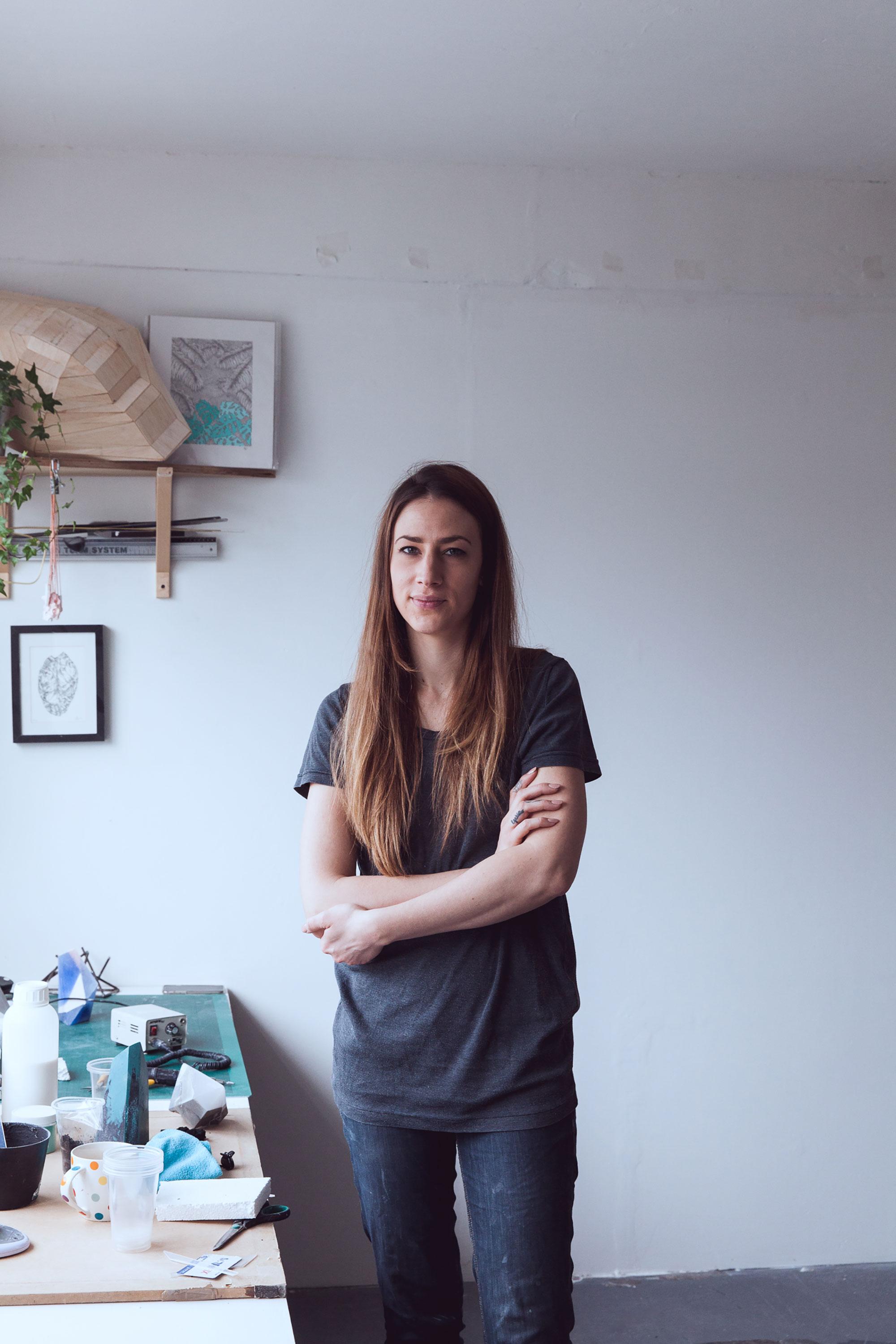 Portrait of Zuza Mengham in her studio