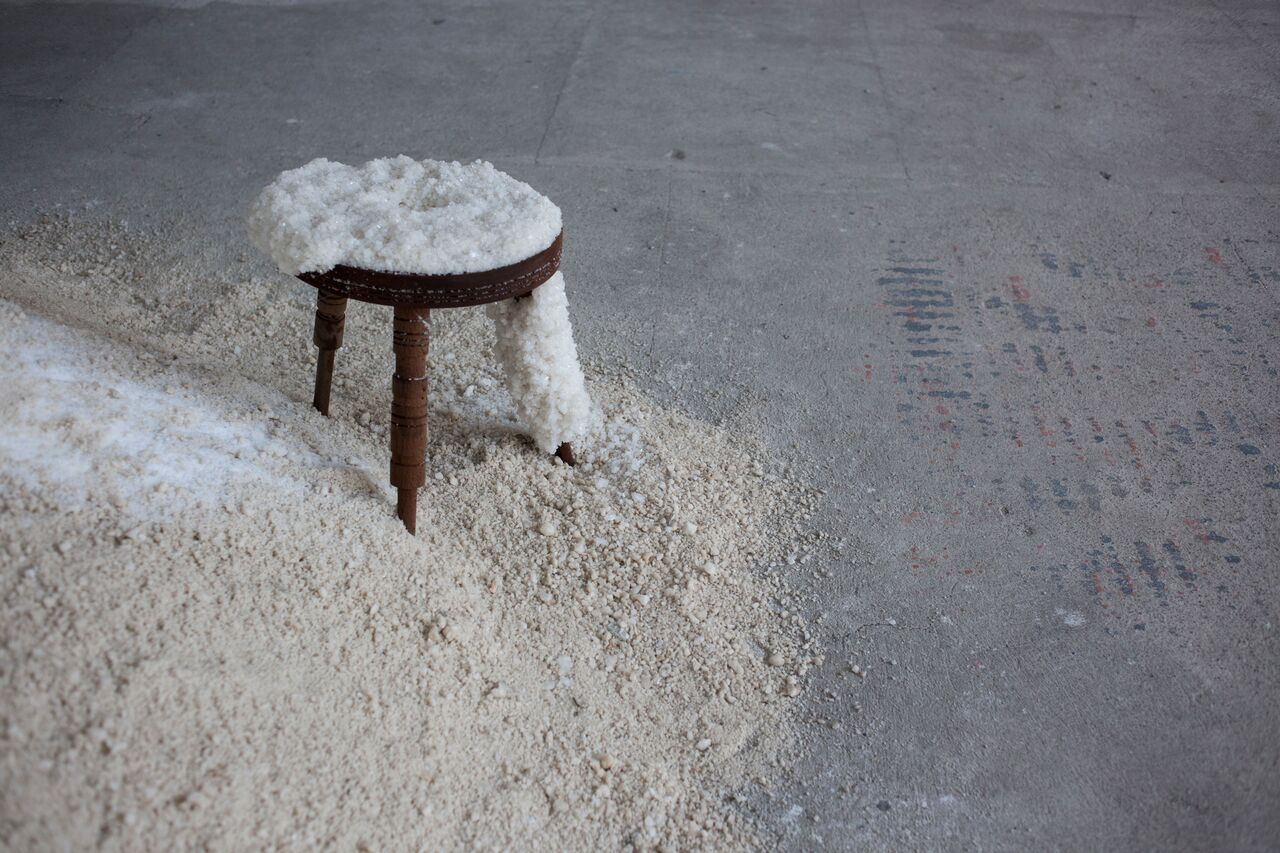 The show includes stools coated in salt using the crystallisation process found in the Dead Sea
