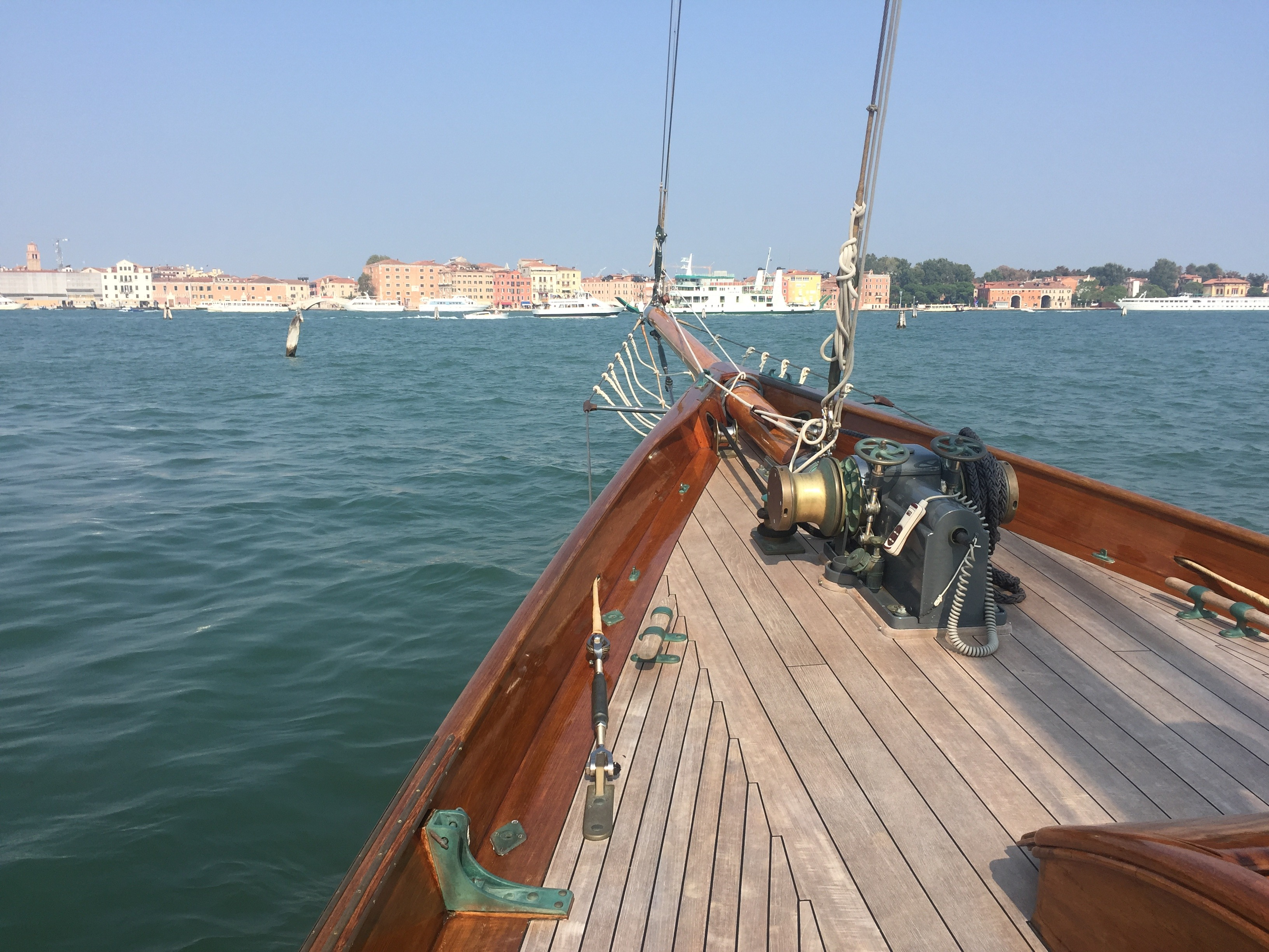 Fully restored by a team of master artisans commissioned by Panerai, Eilean sits at its mooring on San Giorgio