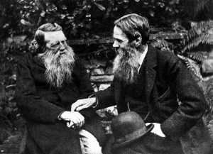 John Ruskin (left) pictured with Pre-Raphaelite Brotherhood founder William Holman Hunt